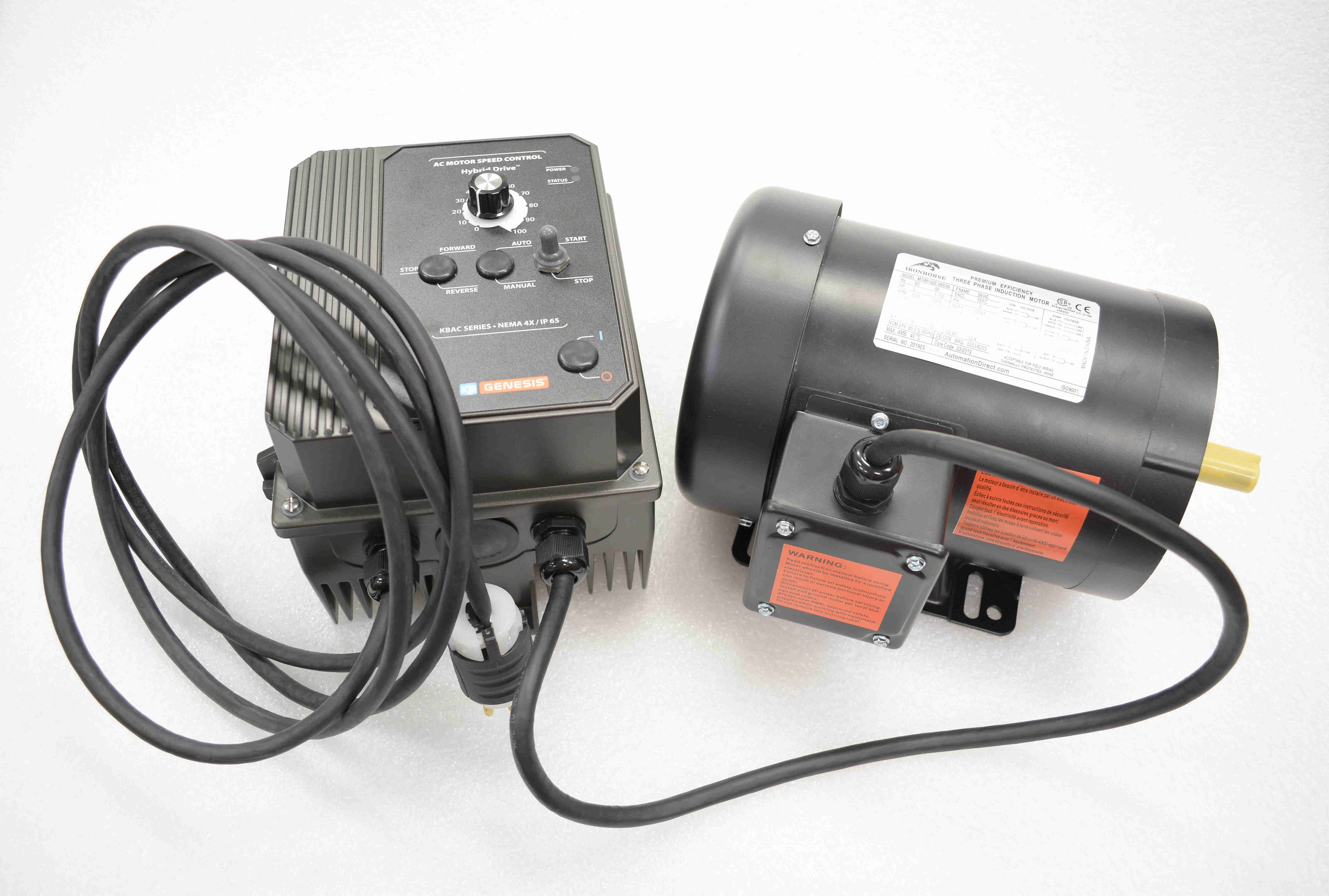 2hp Motor And Vfd Combo Wired